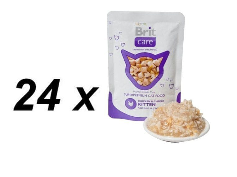 Brit Care Cat kapsa KITTEN Chicken & Cheese Pouch 24 x 80g