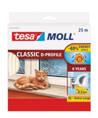 "Tesa Gumové těsnění CLASSIC ""D"" profil 25m, bílé"
