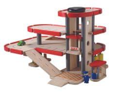 Plan Toys Drewniany parking-garaż z akcesoriami
