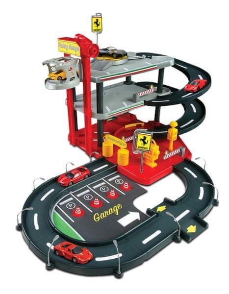 BBurago 1:43 Ferrari garáž + 2 auta v krabičce