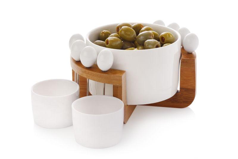 Maxwell & Williams 12dílná sada na olivy, porcelán a dřevo