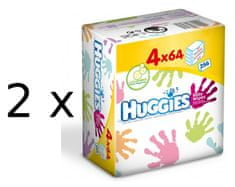 Huggies vlažni robčki Everyday Quatro Pack dvojno pakirani, 2 x (4 x 64) kos