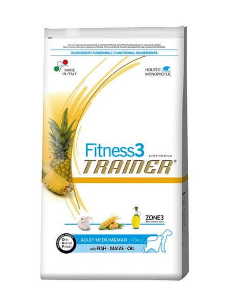 TRAINER Fitness 3 Adult Medium/Maxi Fish & Maize (Ryba & Kukuřice) 12,5 kg