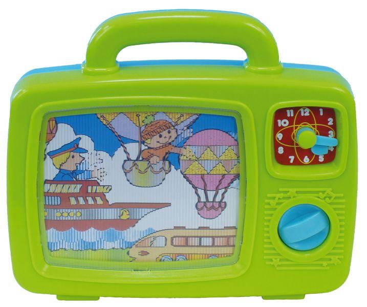 Teddies Televize pro nejmenší s obrázky a hodinami plast se zvukem