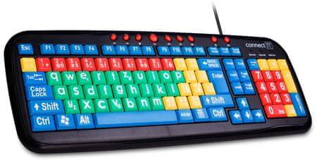 Connect IT CI-72 Kontrastní barevná klávesnice pro děti, USB