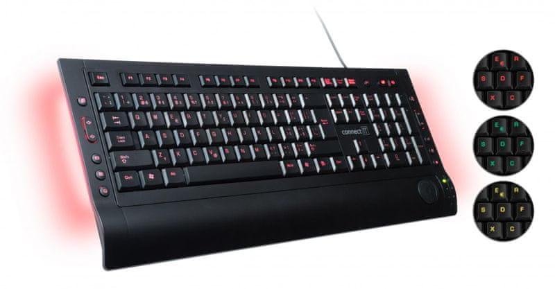 Connect IT CI-46 LED podsvícená klávesnice 3 barvy, USB
