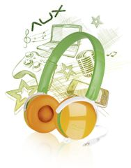 Speed-Link AUX - FREESTYLE Stereo Headset, green-orange