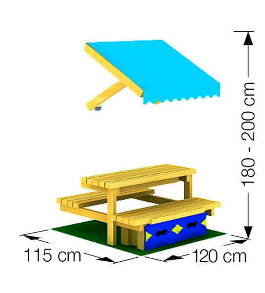 Jungle Gym Mini Picnic Module 120cm - lavice se stolkem