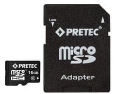 PRETEC karta pamięci microSDHC 16 GB (class 10) + adapter na SD