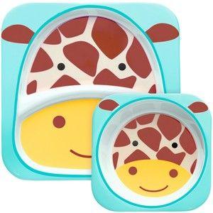 Skip hop ZOO Jídelní set miska talířek 2v1, žirafa