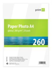 Print IT fotopapír A4, 260g/m2, 20 listů, lesklý (PI-86)