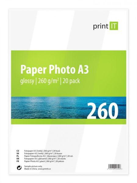 Print IT fotopapír A3, 260g/m2, 20 listů, lesklý