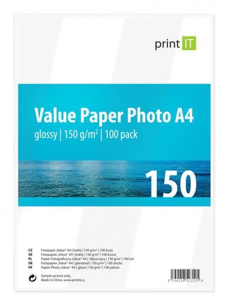 Print IT Value fotopapír A4, 150g/m2, 100 listů, lesklý