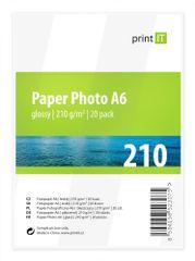 Print IT fotopapír A6, 210g/m2, 20 listů, lesklý (PI-89)