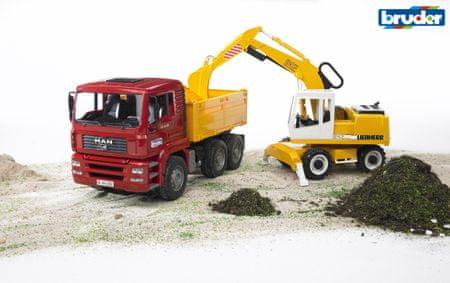 Bruder MAN TGA nákladní auto s Liebherr bagrem 1:16
