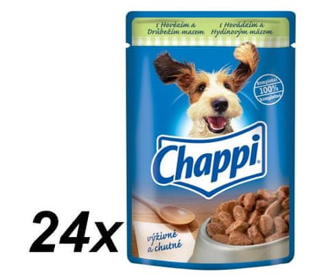Chappi mokra hrana za pse, piščanec in govedina, 24 x 100 g