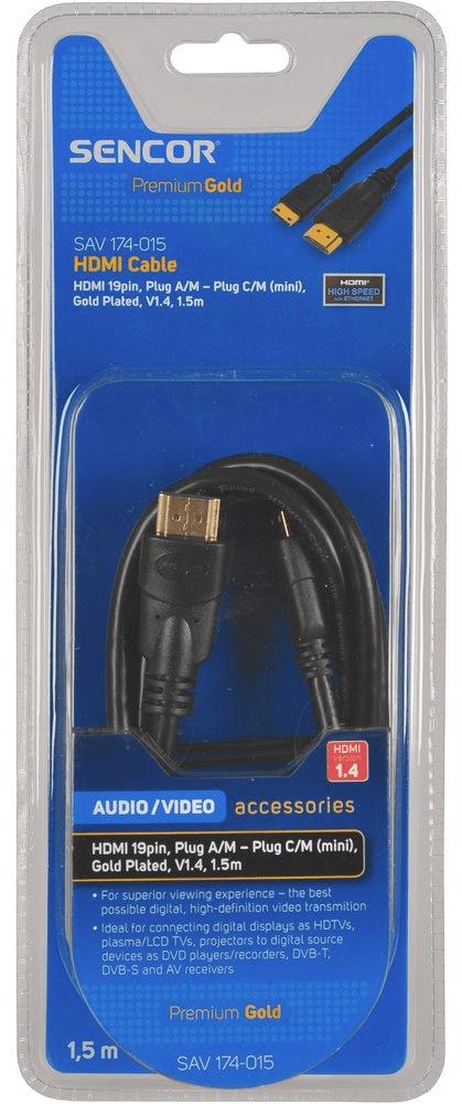 SENCOR SAV 174-015 (HDMI 1.4 A-C mini kabel), 1,5 m