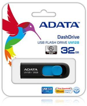 A-Data przenośna pamięć USB UV128, 32GB, czarny/niebieski
