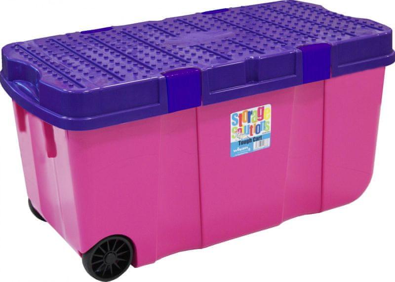 WHAM Box s víkem a kolečky 100l, růžová