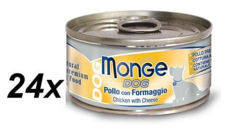 Monge konzervirana pasja hrana Natural s piščancem in sirom, 24 x 95 g