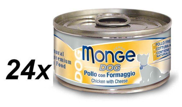 Monge Dog Natural kuřecí maso se sýrem 24 x 95g