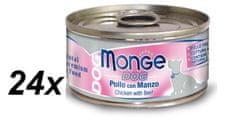 Monge konzervirana pasja hrana Natural s piščancem in govedino, 24 x 95 g
