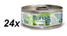 Monge konzervirana mačja hrana Natural z rumenoplavutim tunom in piščancem, 24 x 80 g