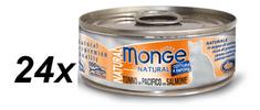 Monge kozervirana hrana za mačke Natural, tuna z lososom, 24 x 80 g