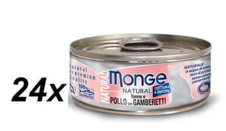 Monge konzervirana mačja hrana Natural s tuno, piščancem in morskimi rakci, 24 x 80 g