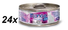 Monge konzervirana mačja hrana Natural s tuno, piščancem in govedino, 24 x 80 g