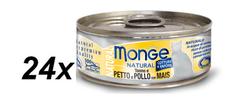 Monge kozervirana hrana za mačke Natural, tuna s koruzo in piščancem, 24 x 80 g