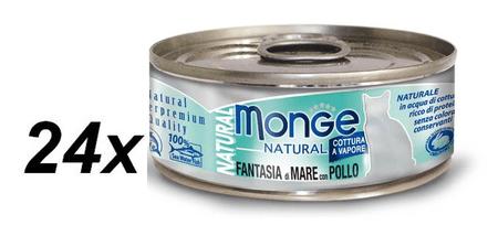 Monge kozervirana hrana za mačke Natural, morski sadeži s tuno in piščancem, 24 x 80 g