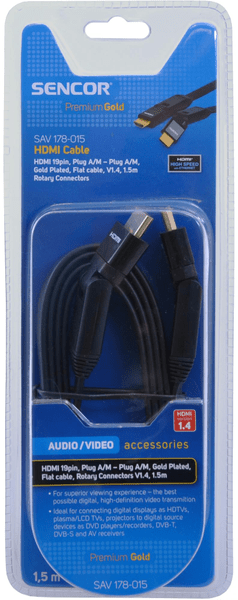 Sencor SAV 178-015 (HDMI 1.4, otočné konektory)