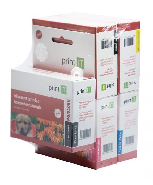 Print IT PGI-520Bk + CLI-521C/M/Y/Bk, multipack (PI-520521)