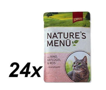 Schmusy hrana za mačke Nature, govedina in perutnina, 24 x 100 g