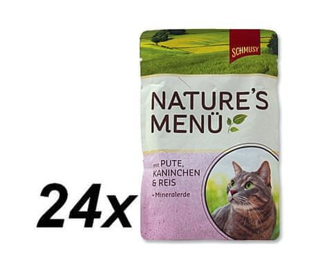 Schmusy hrana za mačke Nature, puran in zajec, 24 x 100 g