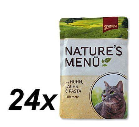 Schmusy hrana za mačke Nature, piščanec in losos, 24 x 100 g