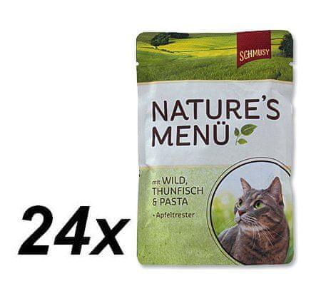 Schmusy hrana za mačke Nature, divjačina in tuna, 24 x 100 g