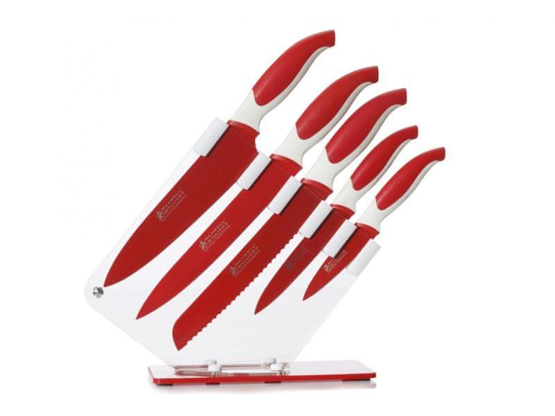 Maxwell & Williams Sada 5 nožů ve stojanu, červená
