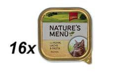 Schmusy hrana za mačke Nature, piščanec in losos, 16 x 100 g