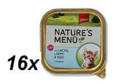 Schmusy hrana za mačiće Nature Junior, losos i janjetina, 16 x 100 g