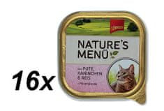 Schmusy mokra karma w tackach dla kota Nature´s Menu indyk + królik 16 x 100g