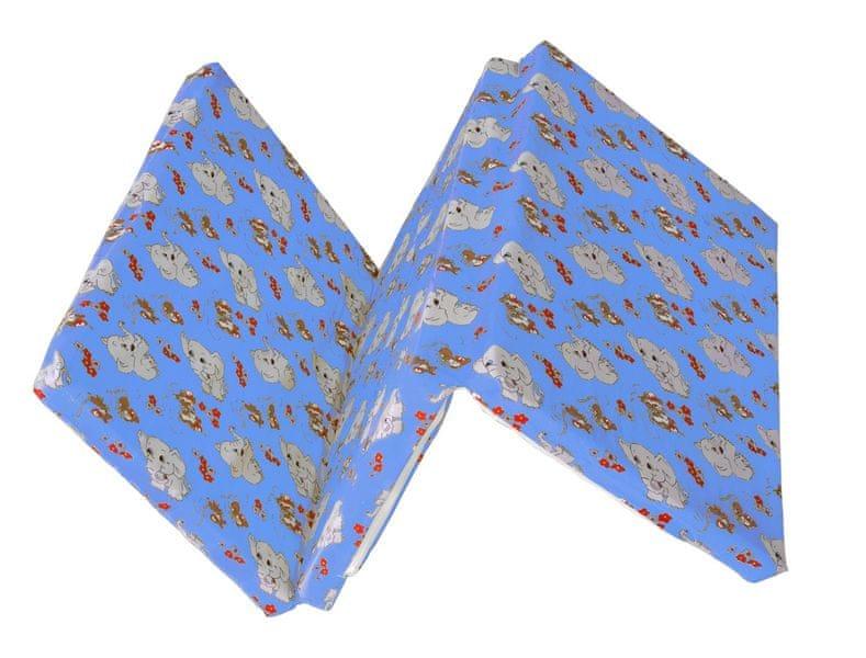Kvalitex Skládací matrace do postýlky, Slůňata modrá