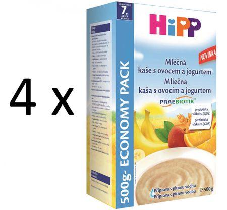 HiPP Mliečnoobilná kaša s ovocím a jogurtom 500g (3+1 zdarma)