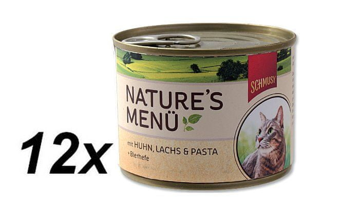 Schmusy Konzervy Nature´s Menü kuře+losos 12 x 190 g
