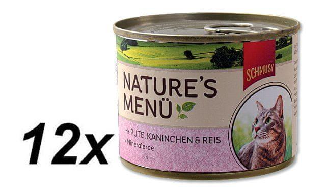 Schmusy Konzervy Nature´s Menü krocan+králík 12 x 190 g