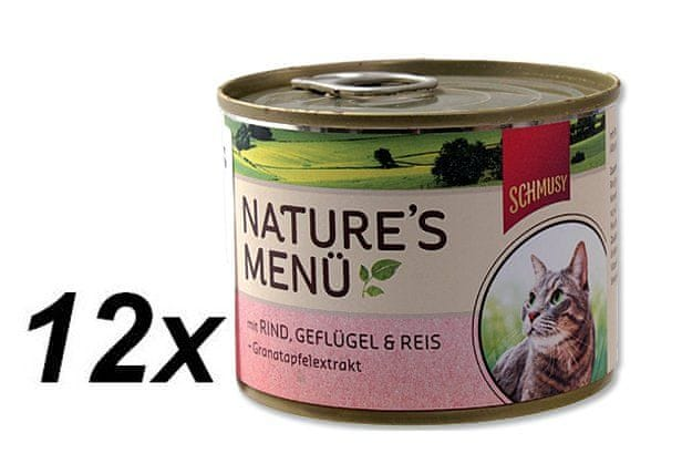Schmusy Konzervy Nature´s Menü hovězí+drůbež 12 x 190 g