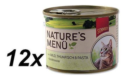 Schmusy hrana za mačke Nature, divljač i tuna, 12 x 190 g