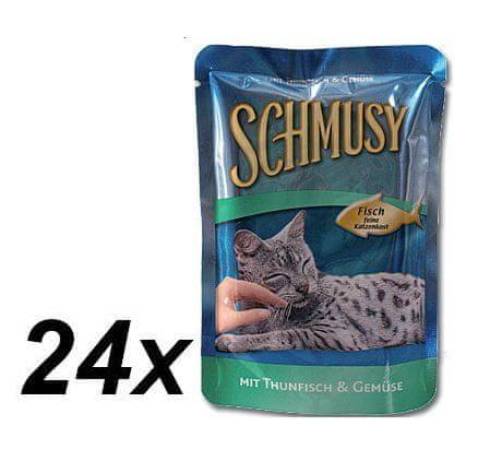 Schmusy hrana za mačke Nature Fish, tuna in zelenjava, 24 x 100 g