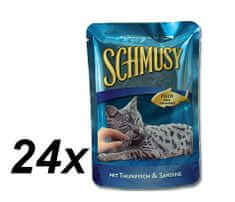 Schmusy hrana za mačke Nature Fish, tuna in sardine, 24 x 100 g